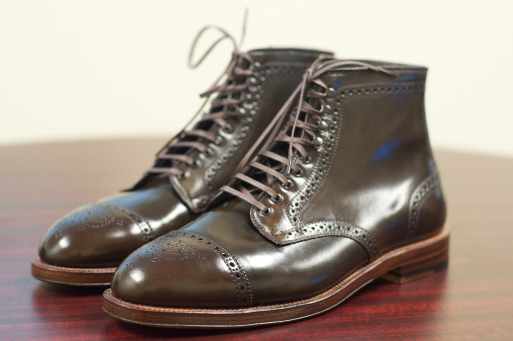 Alden Cigar Cap Toe Medallion Boots - 1