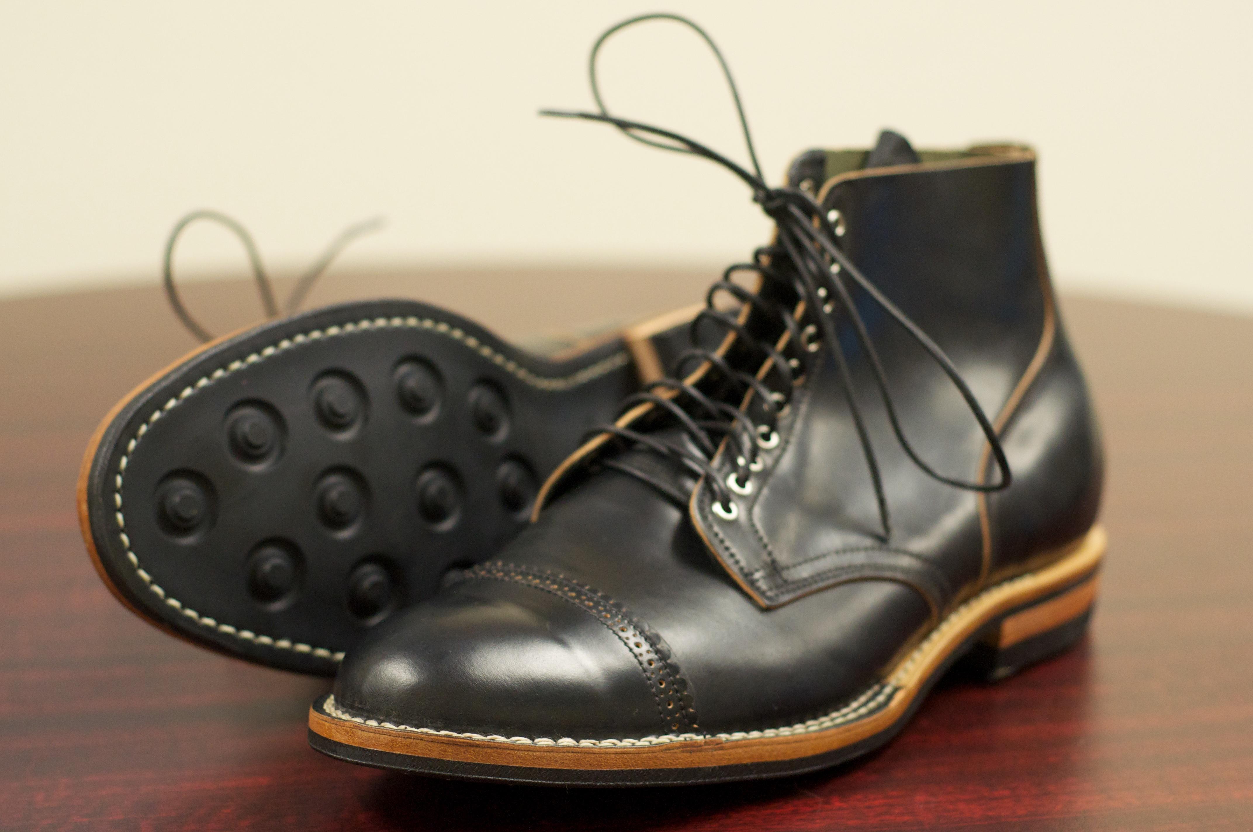 Cordovan Polish On Black Shoes