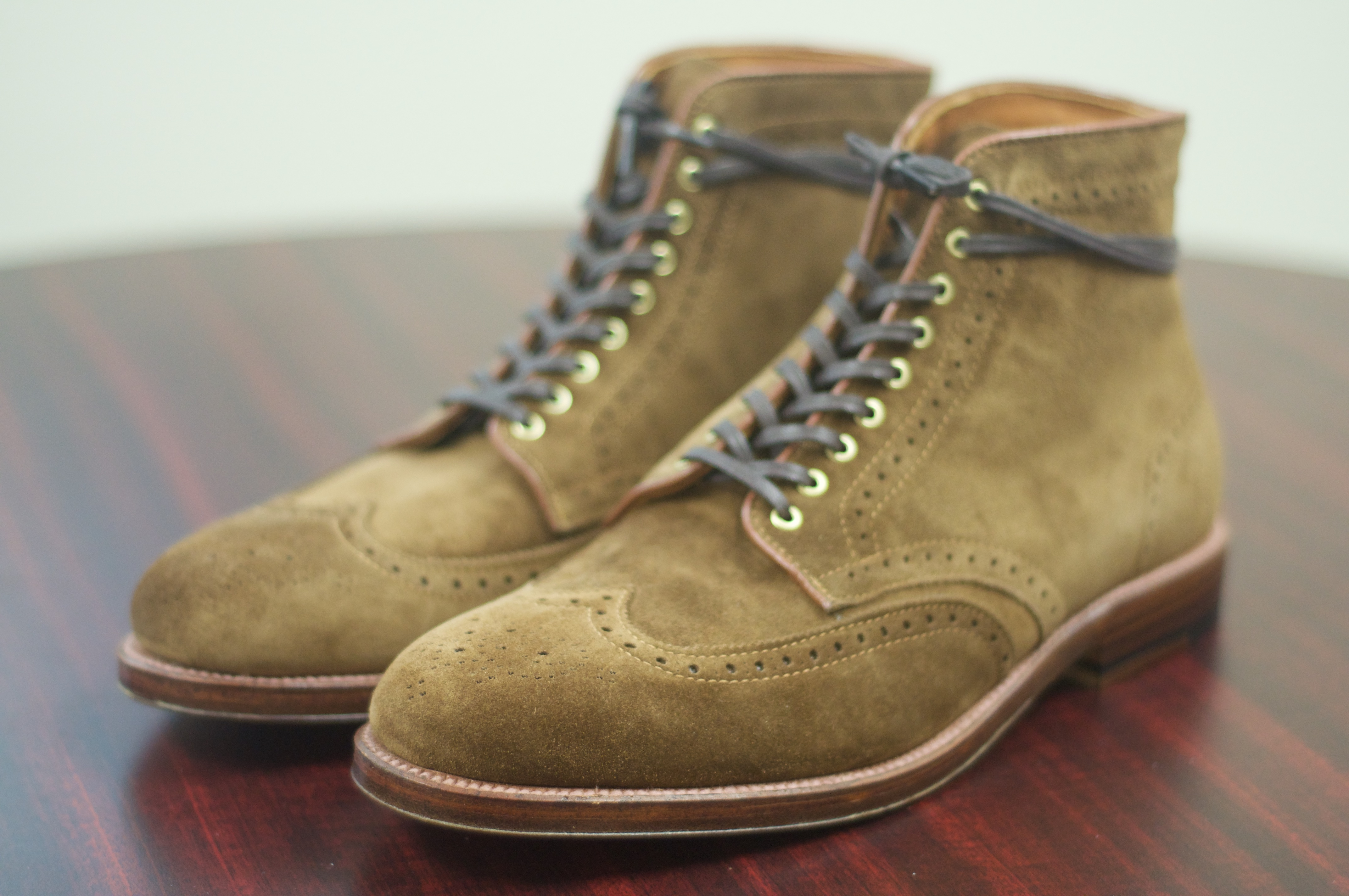Sold alden snuff suede wingtip boot with brass hardware for The alden