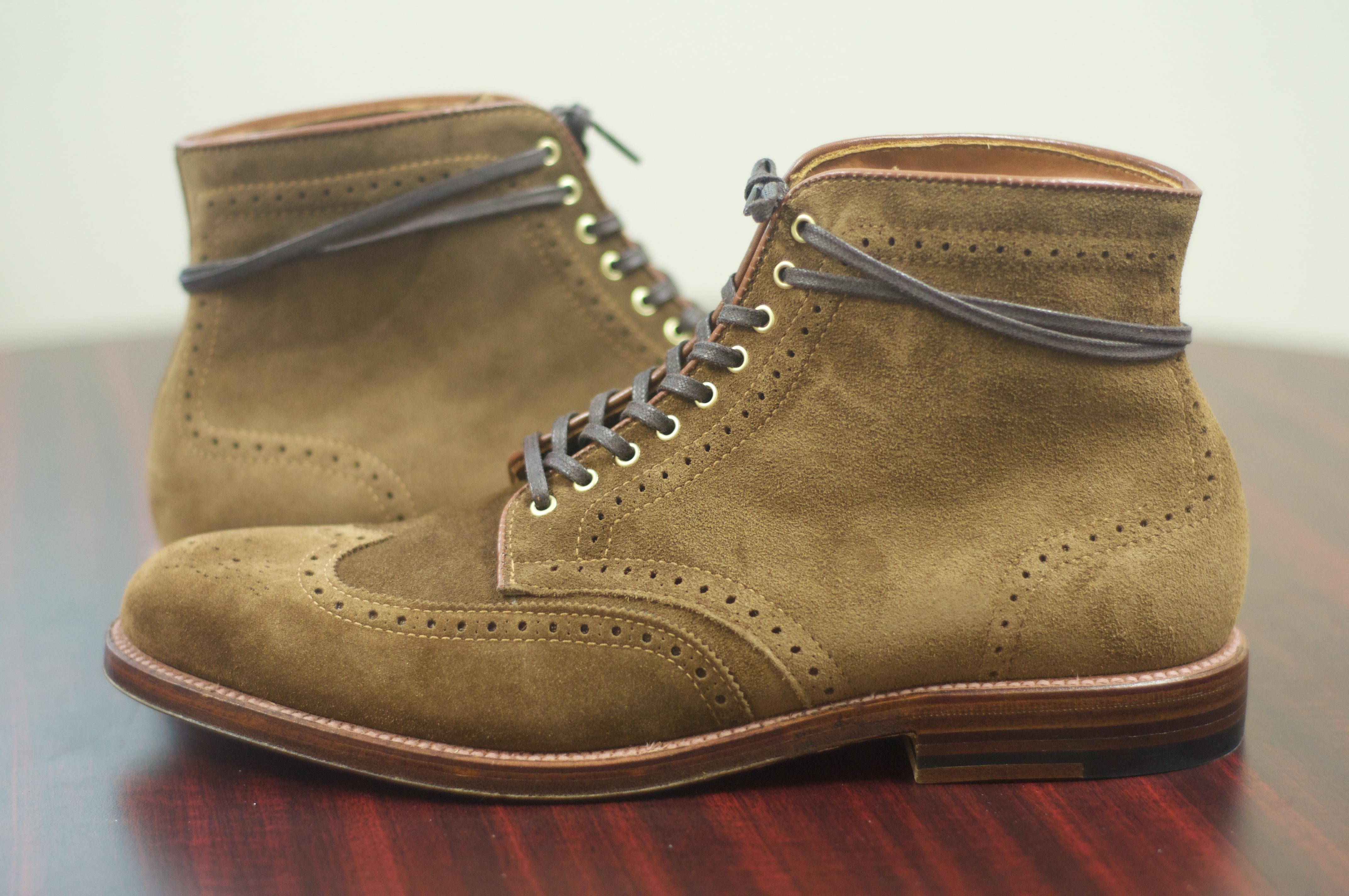 sold alden snuff suede wingtip boot with brass hardware