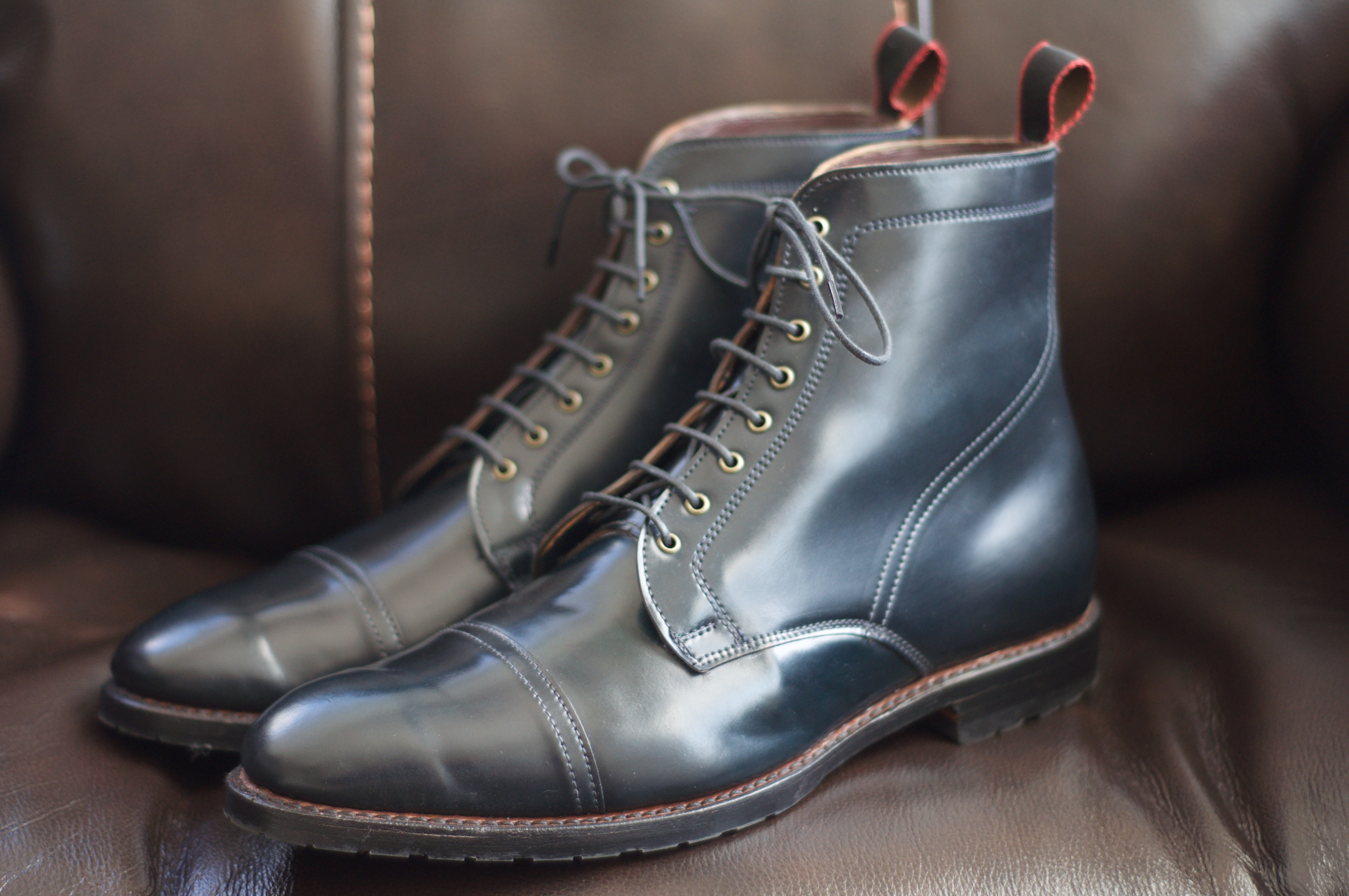78ce40612d0 SOLD  Allen Edmonds Navy Shell Cordovan First Avenue Boot – 10.5D – Alden  of San Diego