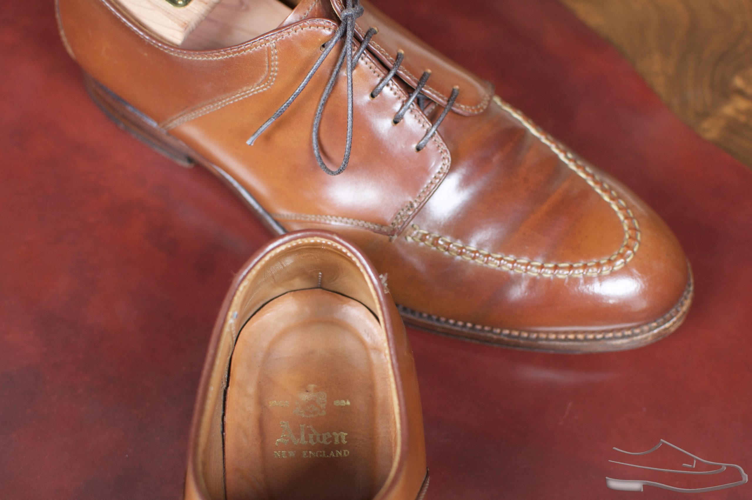Alden AF-1 Whiskey and Mahogany Shell Cordovan Saddle U-Tip Blucher