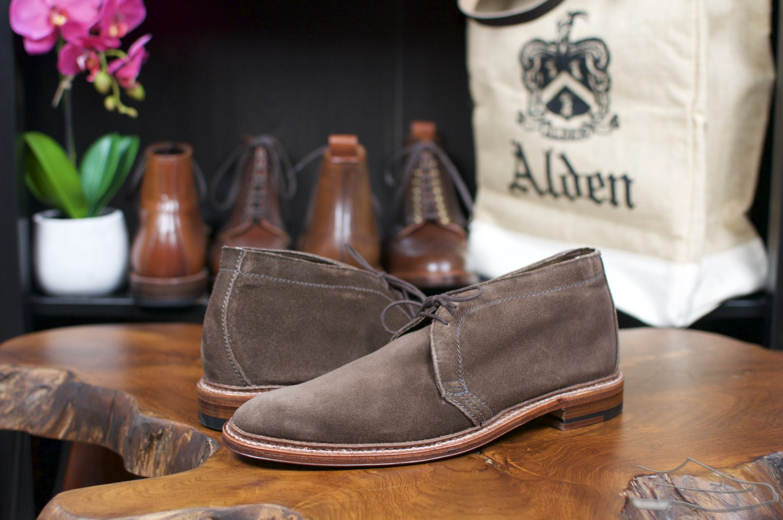 Alden Dark Brown Suede Unlined Chukkas
