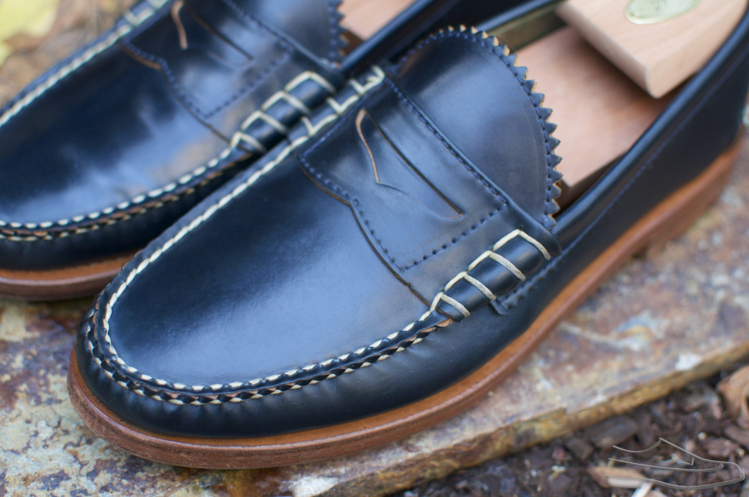 Rancourt Navy Shell Cordovan Beefroll Loafer