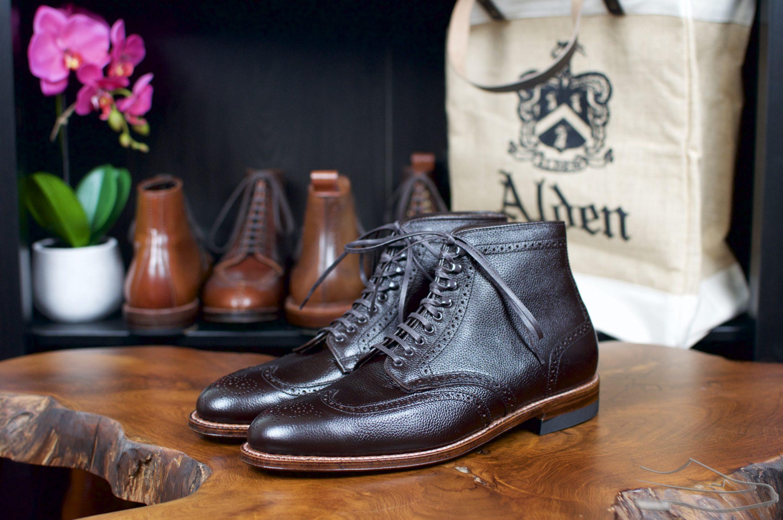 Alden x Ealdwine Brown Regina Grain Calfskin Wingtip Boots